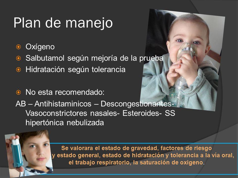 Plan de manejo Oxígeno Salbutamol según mejoría de la prueba Hidratación según tolerancia No esta recomendado: AB – Antihistaminicos – Descongestionan
