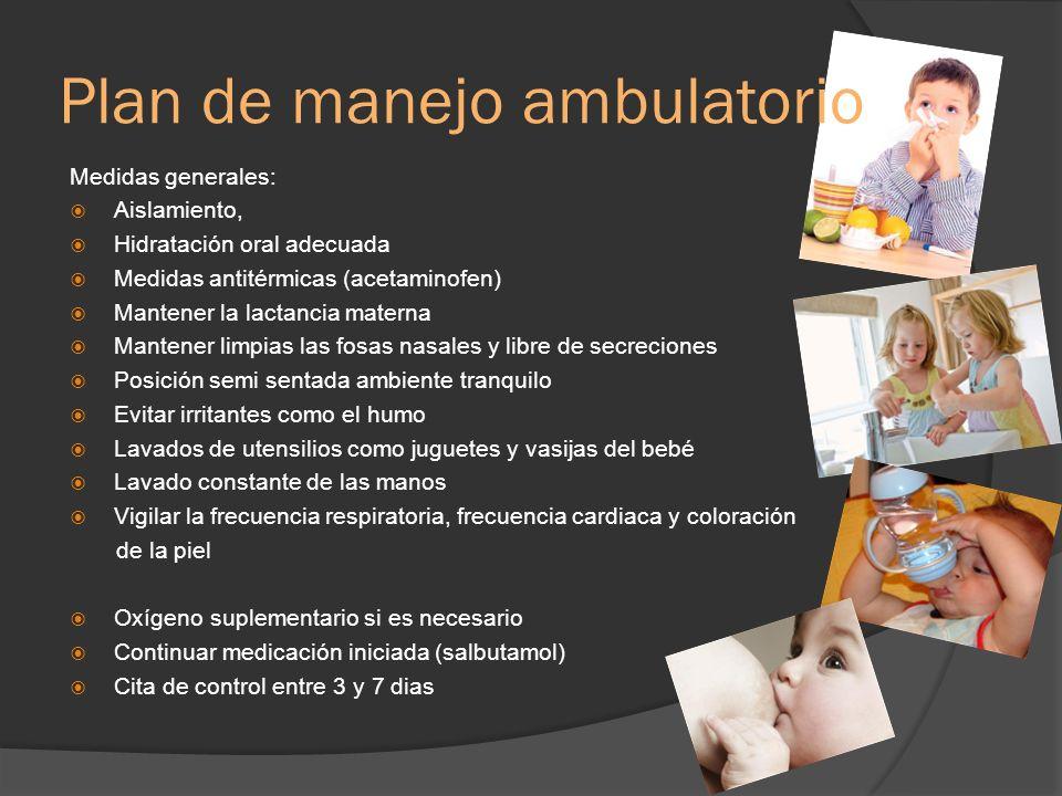 Plan de manejo ambulatorio Medidas generales: Aislamiento, Hidratación oral adecuada Medidas antitérmicas (acetaminofen) Mantener la lactancia materna
