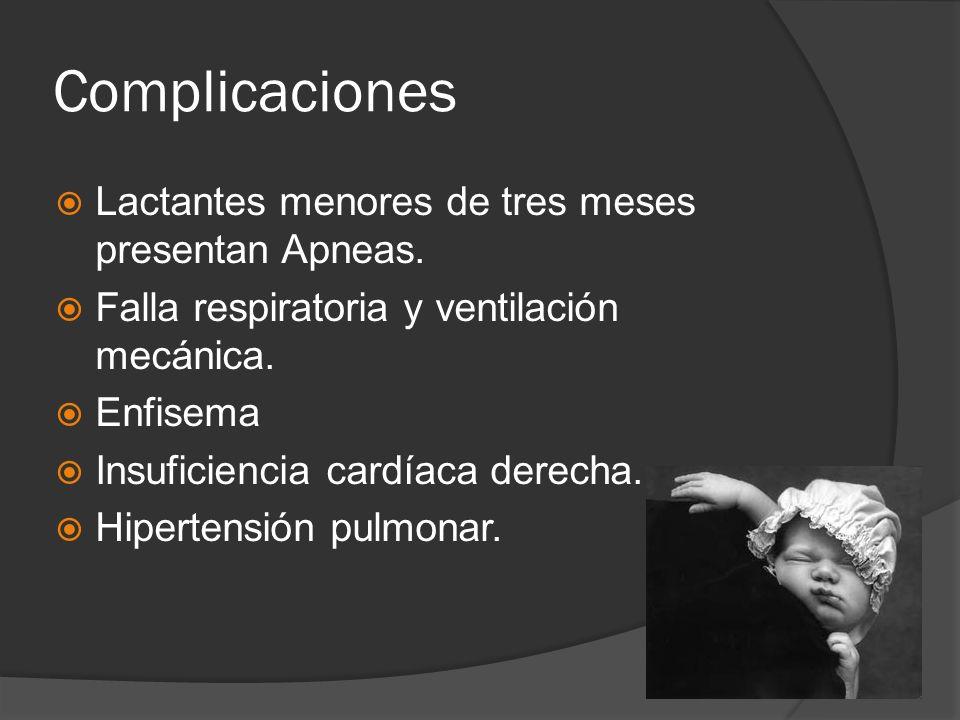 Complicaciones Lactantes menores de tres meses presentan Apneas. Falla respiratoria y ventilación mecánica. Enfisema Insuficiencia cardíaca derecha. H