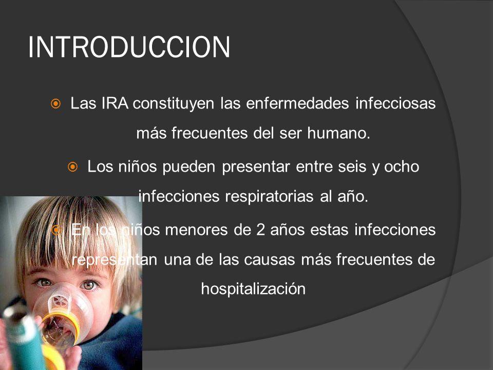 INTRODUCCION Las IRA constituyen las enfermedades infecciosas más frecuentes del ser humano. Los niños pueden presentar entre seis y ocho infecciones