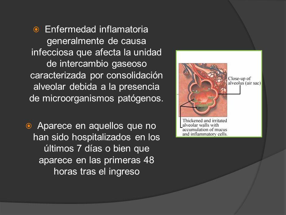 Enfermedad inflamatoria generalmente de causa infecciosa que afecta la unidad de intercambio gaseoso caracterizada por consolidación alveolar debida a