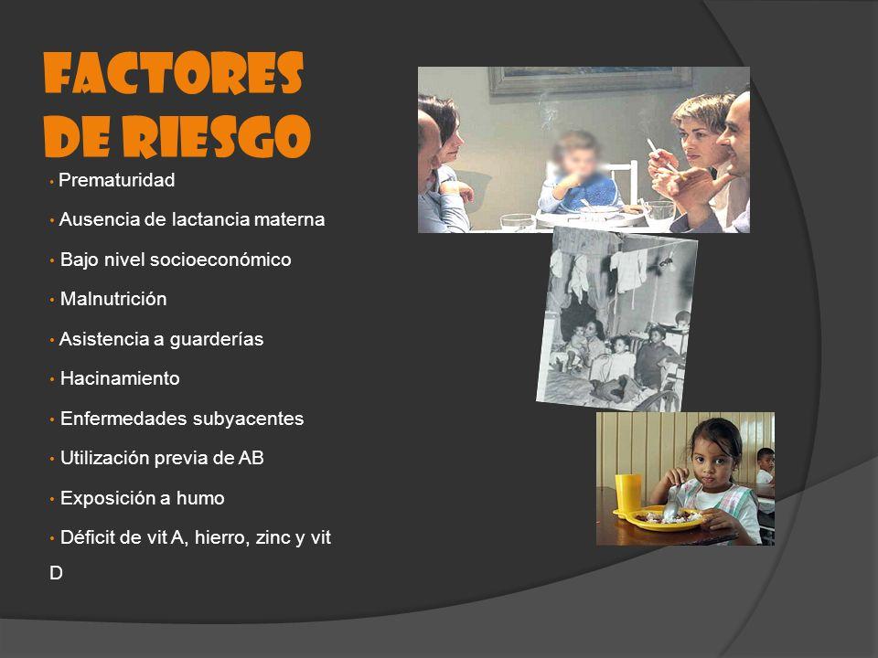 FACTORES DE RIESGO Prematuridad Ausencia de lactancia materna Bajo nivel socioeconómico Malnutrición Asistencia a guarderías Hacinamiento Enfermedades