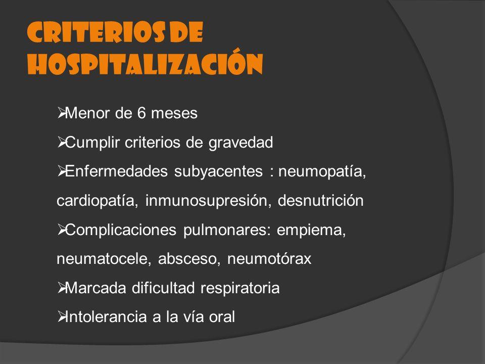 CRITERIOS DE HOSPITALIZACIÓN Menor de 6 meses Cumplir criterios de gravedad Enfermedades subyacentes : neumopatía, cardiopatía, inmunosupresión, desnu
