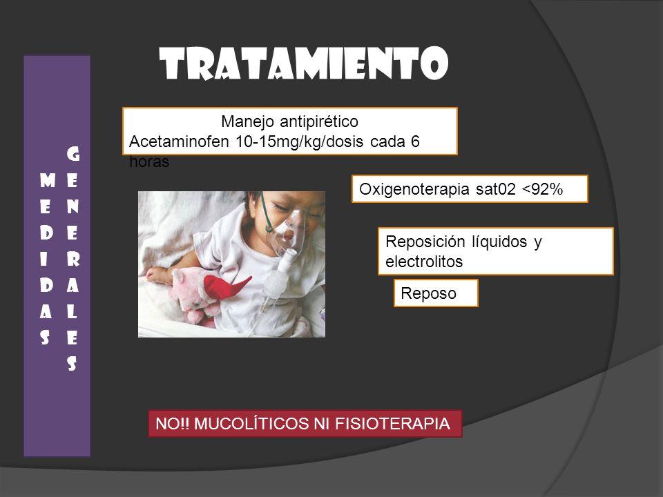 TRATAMIENTO Reposo Manejo antipirético Acetaminofen 10-15mg/kg/dosis cada 6 horas Reposición líquidos y electrolitos Oxigenoterapia sat02 <92% NO!! MU