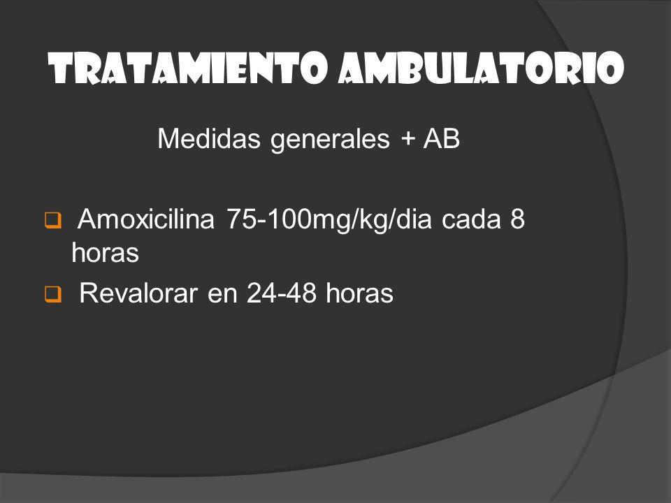 Medidas generales + AB Amoxicilina 75-100mg/kg/dia cada 8 horas Revalorar en 24-48 horas TRATAMIENTO AMBULATORIO