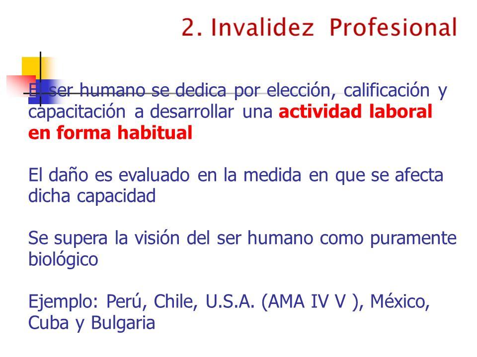 El ser humano se dedica por elección, calificación y capacitación a desarrollar una actividad laboral en forma habitual El daño es evaluado en la medi