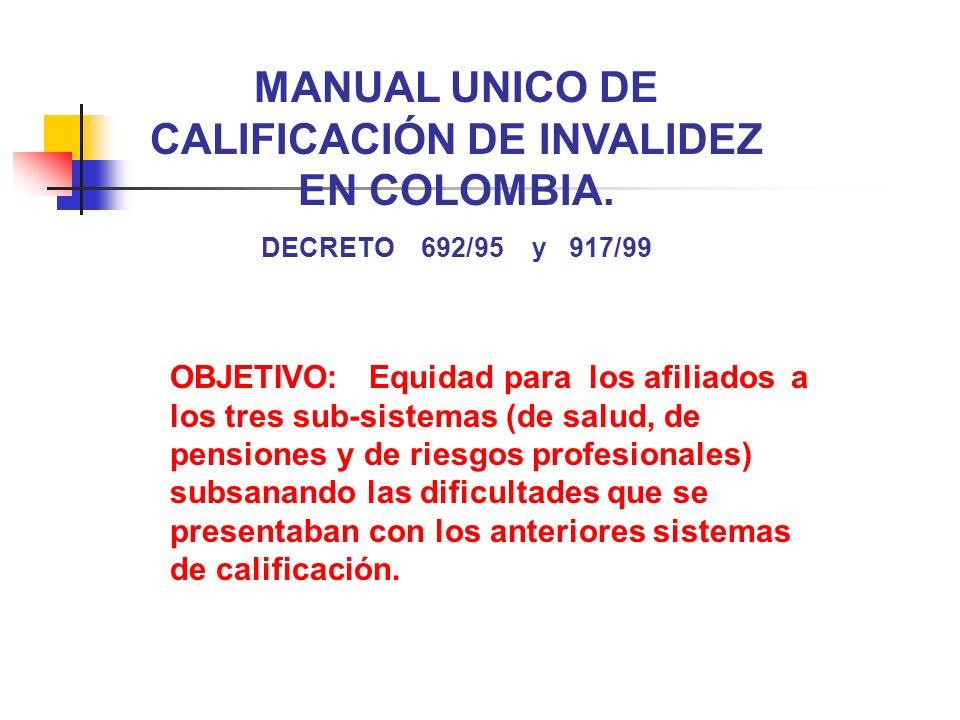 MANUAL UNICO DE CALIFICACIÓN DE INVALIDEZ EN COLOMBIA. DECRETO 692/95 y 917/99 OBJETIVO: Equidad para los afiliados a los tres sub-sistemas (de salud,