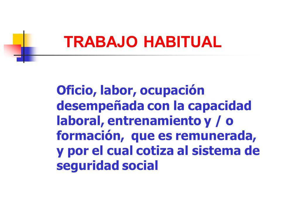 Oficio, labor, ocupación desempeñada con la capacidad laboral, entrenamiento y / o formación, que es remunerada, y por el cual cotiza al sistema de se