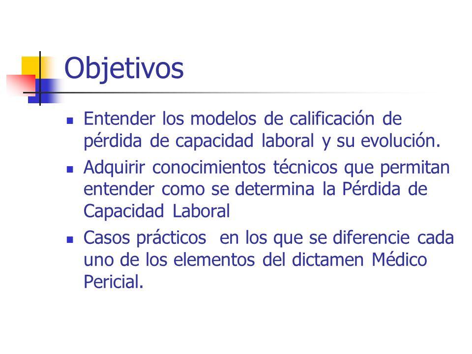 Objetivos Entender los modelos de calificación de pérdida de capacidad laboral y su evolución. Adquirir conocimientos técnicos que permitan entender c