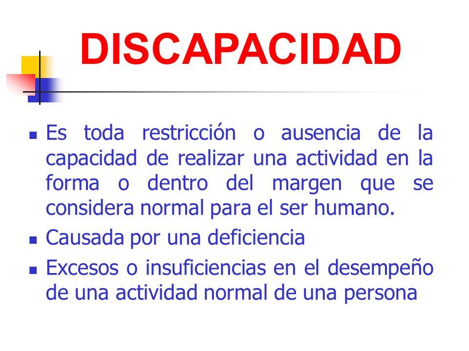 Es toda restricción o ausencia de la capacidad de realizar una actividad en la forma o dentro del margen que se considera normal para el ser humano. C