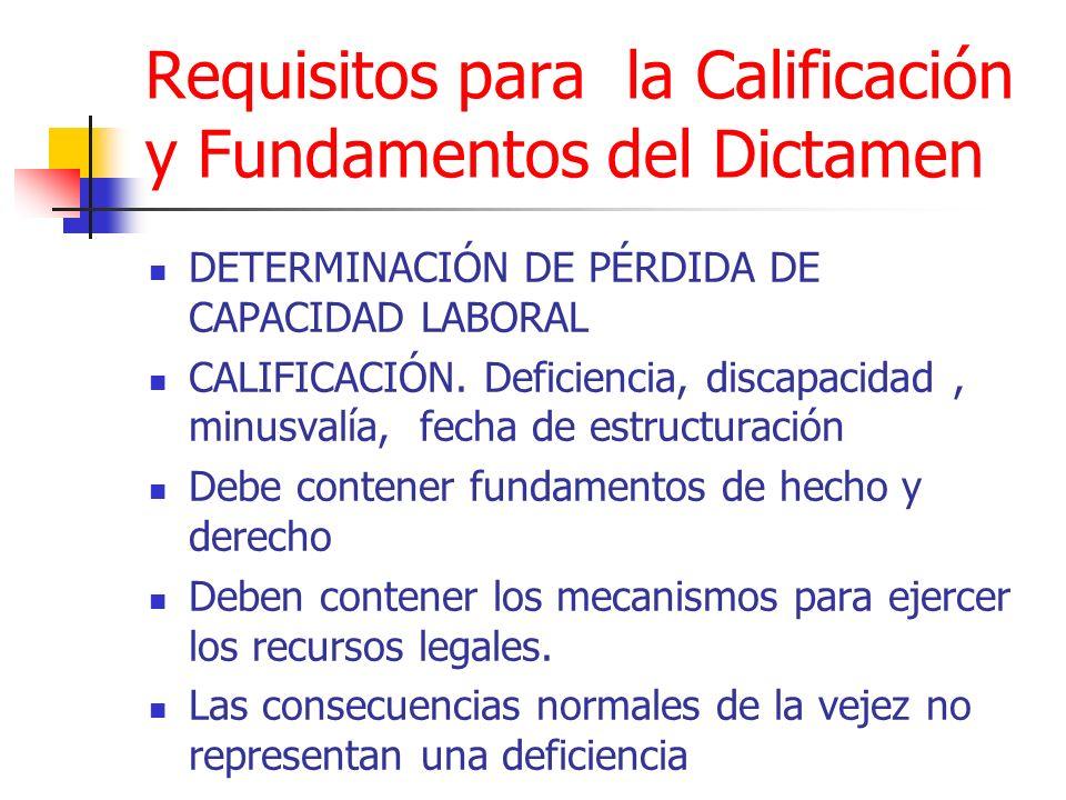 Requisitos para la Calificación y Fundamentos del Dictamen DETERMINACIÓN DE PÉRDIDA DE CAPACIDAD LABORAL CALIFICACIÓN. Deficiencia, discapacidad, minu
