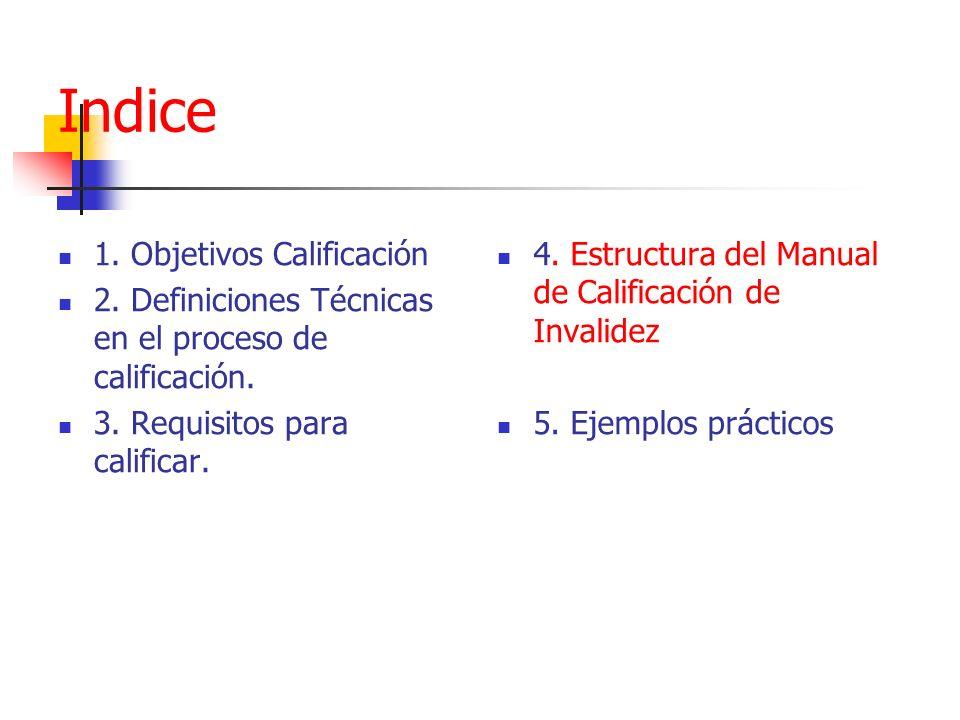 Indice 1. Objetivos Calificación 2. Definiciones Técnicas en el proceso de calificación. 3. Requisitos para calificar. 4. Estructura del Manual de Cal
