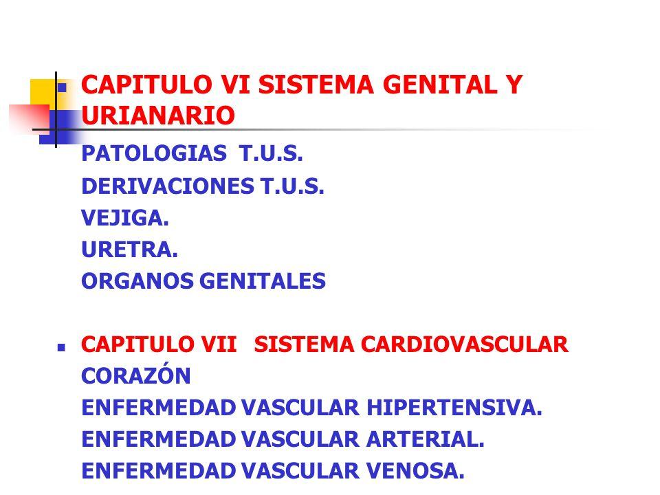 CAPITULO VI SISTEMA GENITAL Y URIANARIO PATOLOGIAS T.U.S. DERIVACIONES T.U.S. VEJIGA. URETRA. ORGANOS GENITALES CAPITULO VII SISTEMA CARDIOVASCULAR CO