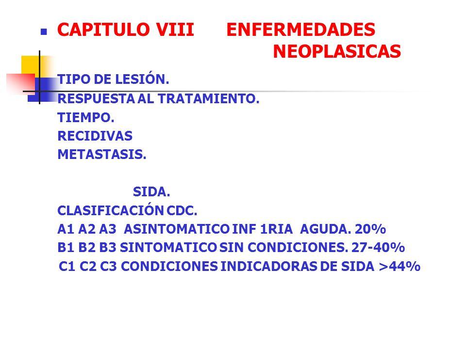 CAPITULO VIII ENFERMEDADES NEOPLASICAS TIPO DE LESIÓN. RESPUESTA AL TRATAMIENTO. TIEMPO. RECIDIVAS METASTASIS. SIDA. CLASIFICACIÓN CDC. A1 A2 A3 ASINT