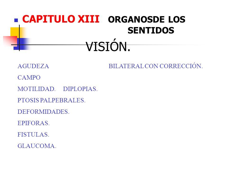 CAPITULO XIII ORGANOSDE LOS SENTIDOS VISIÓN. AGUDEZABILATERAL CON CORRECCIÓN. CAMPO MOTILIDAD.DIPLOPIAS. PTOSIS PALPEBRALES. DEFORMIDADES. EPIFORAS. F