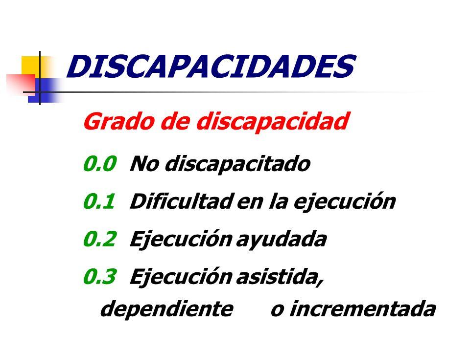DISCAPACIDADES Grado de discapacidad 0.0No discapacitado 0.1Dificultad en la ejecución 0.2Ejecución ayudada 0.3Ejecución asistida, dependiente o incre