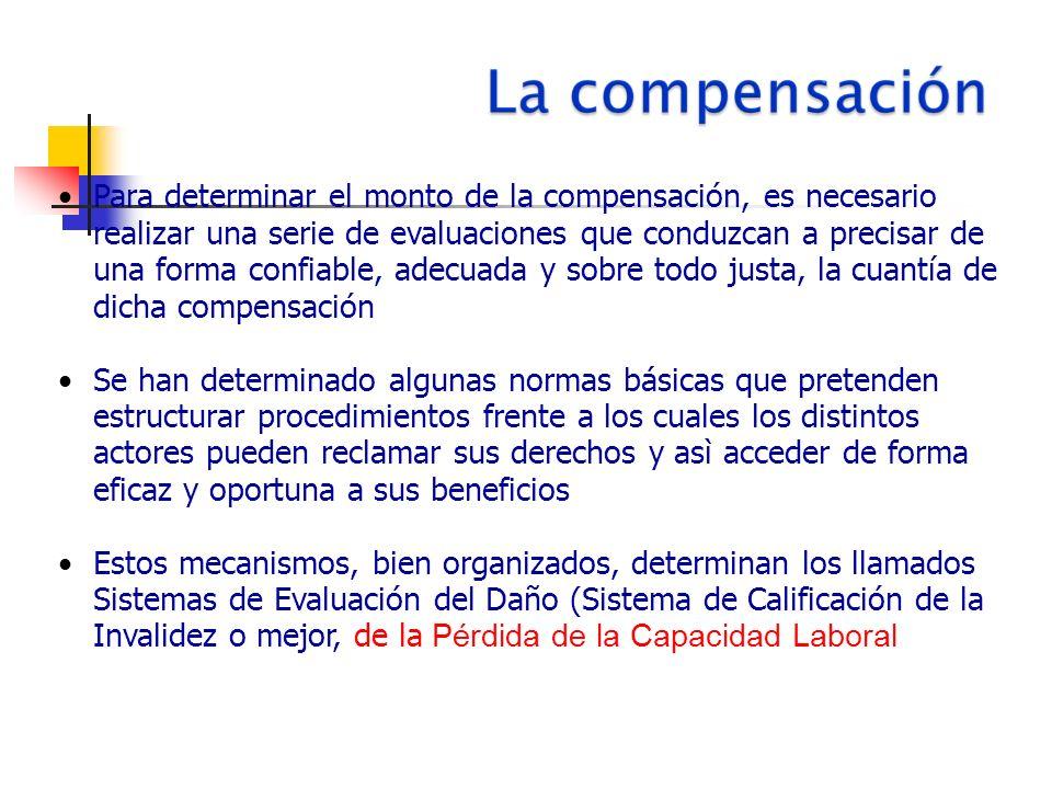 Para determinar el monto de la compensación, es necesario realizar una serie de evaluaciones que conduzcan a precisar de una forma confiable, adecuada