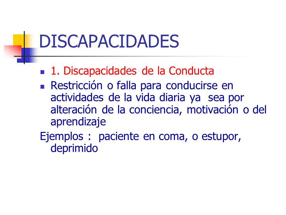 DISCAPACIDADES 1. Discapacidades de la Conducta Restricción o falla para conducirse en actividades de la vida diaria ya sea por alteración de la conci