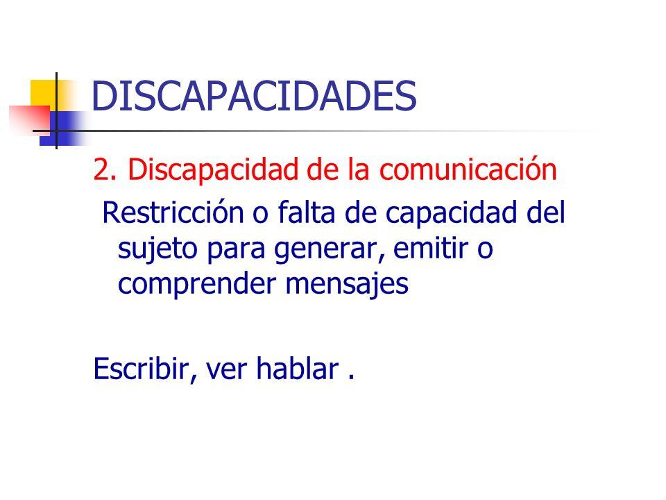 DISCAPACIDADES 2. Discapacidad de la comunicación Restricción o falta de capacidad del sujeto para generar, emitir o comprender mensajes Escribir, ver