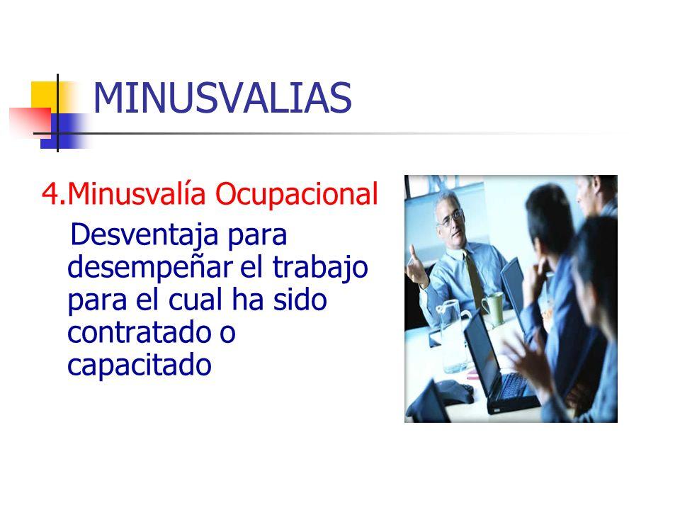 MINUSVALIAS 4.Minusvalía Ocupacional Desventaja para desempeñar el trabajo para el cual ha sido contratado o capacitado