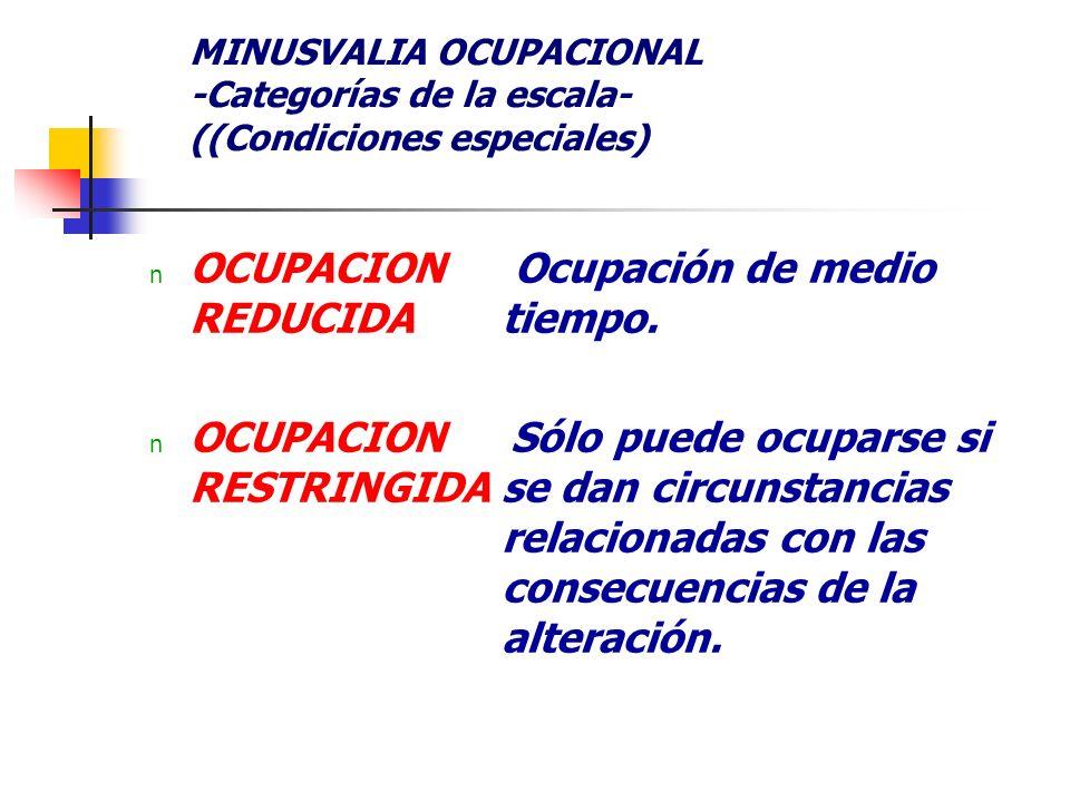 MINUSVALIA OCUPACIONAL -Categorías de la escala- ((Condiciones especiales) n OCUPACION REDUCIDA n OCUPACION RESTRINGIDA Ocupación de medio tiempo. Sól