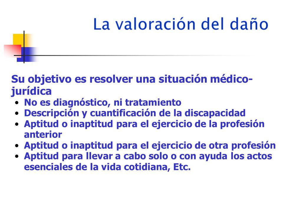 Su objetivo es resolver una situación médico- jurídica No es diagnóstico, ni tratamiento Descripción y cuantificación de la discapacidad Aptitud o ina