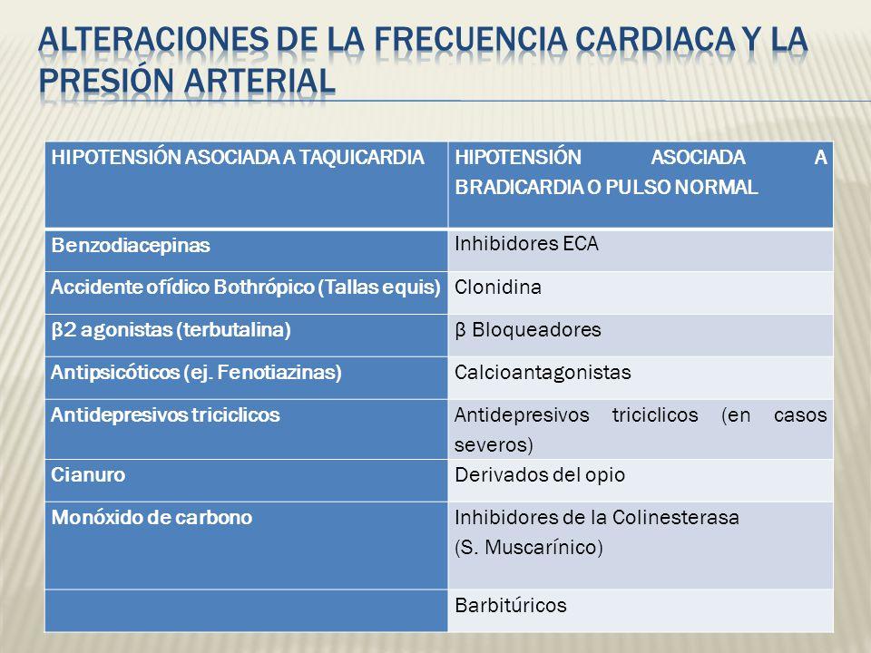 HIPOTENSIÓN ASOCIADA A TAQUICARDIA HIPOTENSIÓN ASOCIADA A BRADICARDIA O PULSO NORMAL Benzodiacepinas Inhibidores ECA Accidente ofídico Bothrópico (Tal