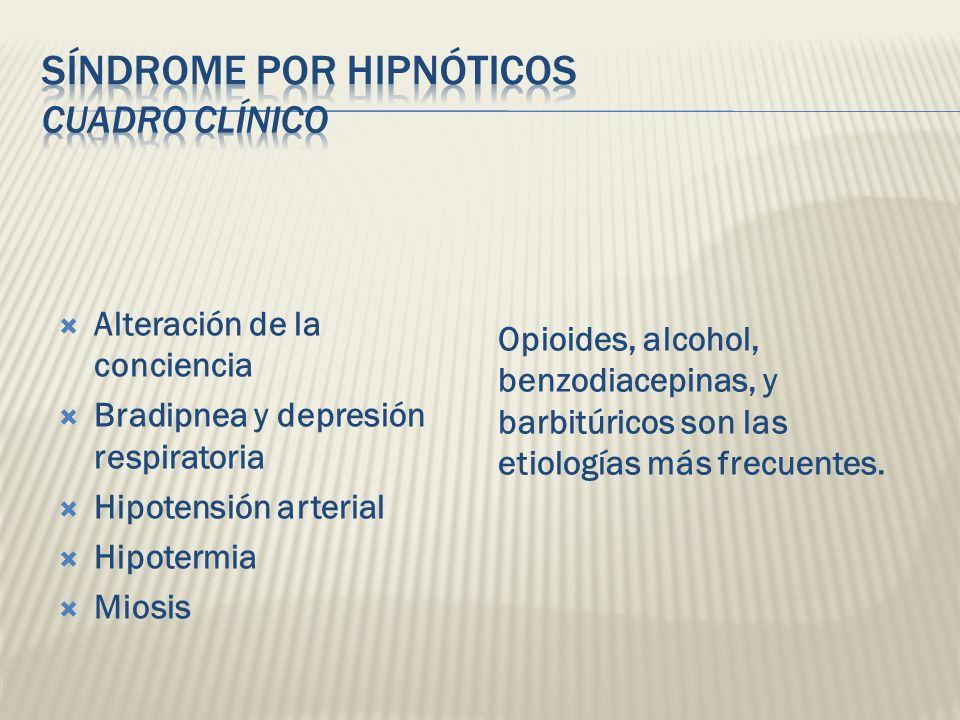 Alteración de la conciencia Bradipnea y depresión respiratoria Hipotensión arterial Hipotermia Miosis Opioides, alcohol, benzodiacepinas, y barbitúric