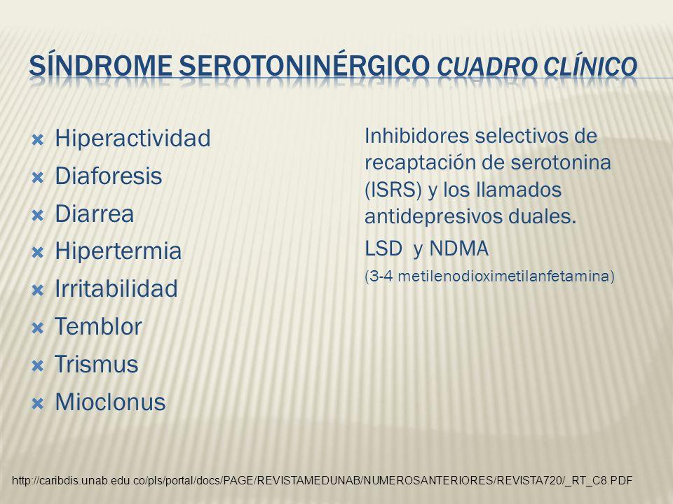 Hiperactividad Diaforesis Diarrea Hipertermia Irritabilidad Temblor Trismus Mioclonus Inhibidores selectivos de recaptación de serotonina (ISRS) y los
