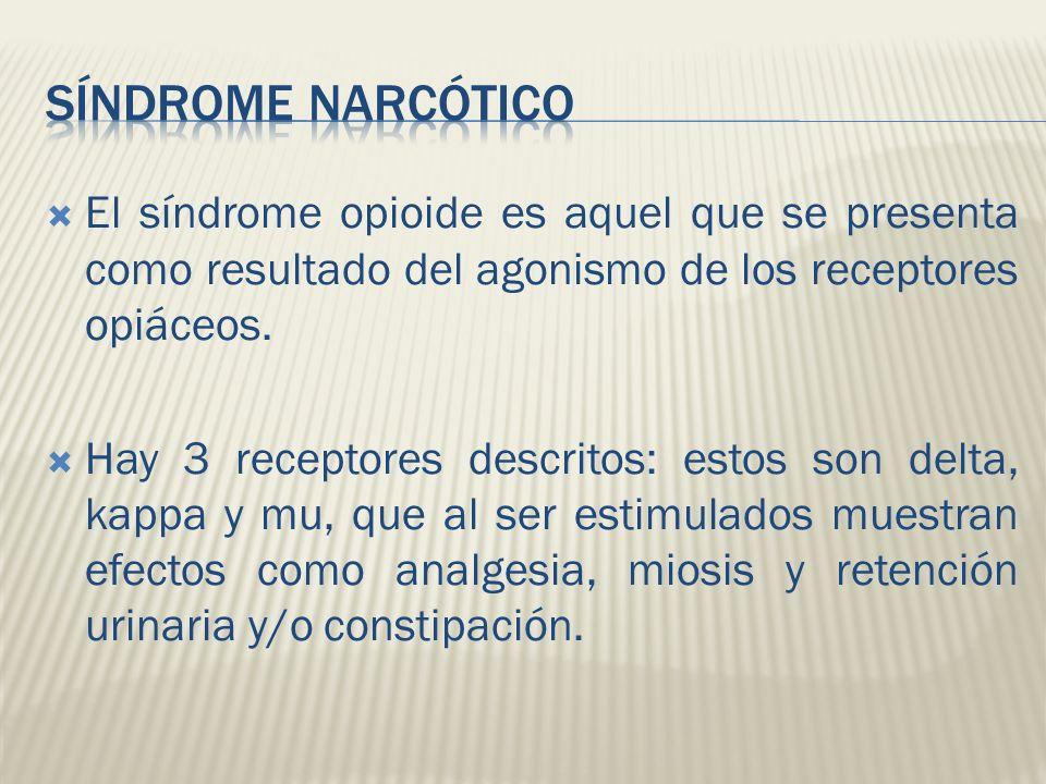 El síndrome opioide es aquel que se presenta como resultado del agonismo de los receptores opiáceos. Hay 3 receptores descritos: estos son delta, kapp