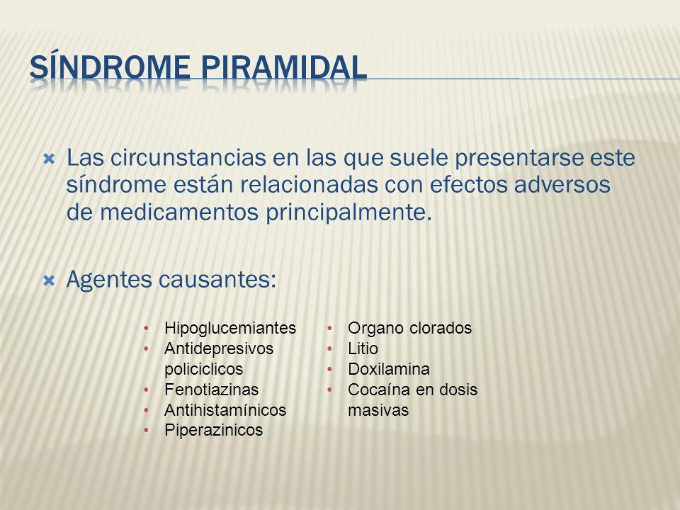 Las circunstancias en las que suele presentarse este síndrome están relacionadas con efectos adversos de medicamentos principalmente. Agentes causante