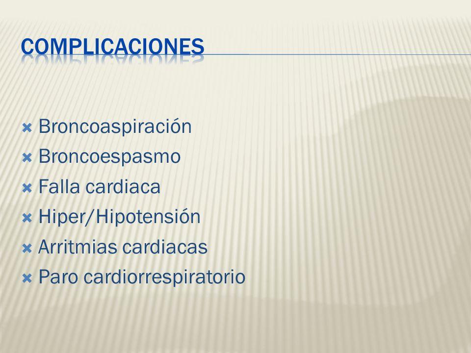 Broncoaspiración Broncoespasmo Falla cardiaca Hiper/Hipotensión Arritmias cardiacas Paro cardiorrespiratorio