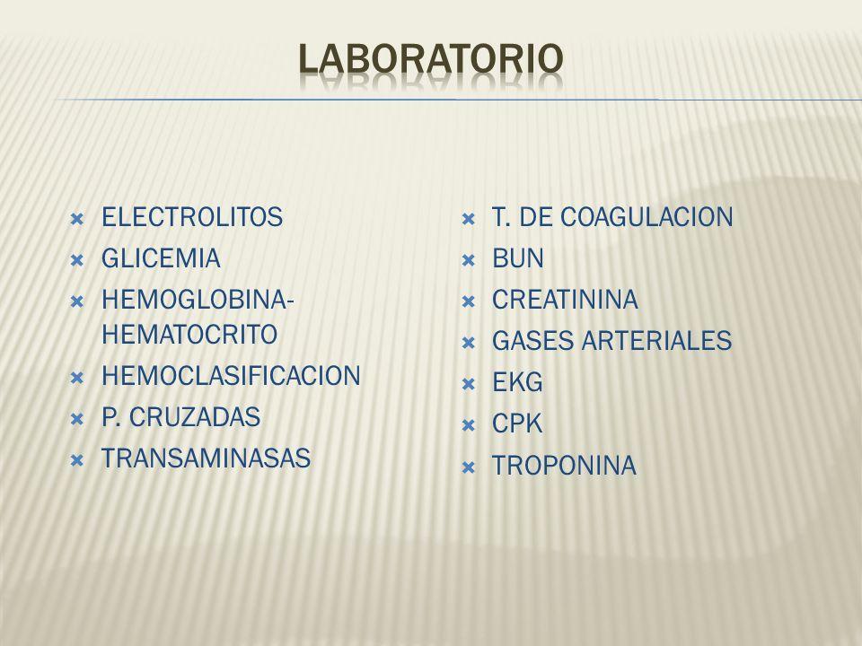 ELECTROLITOS GLICEMIA HEMOGLOBINA- HEMATOCRITO HEMOCLASIFICACION P. CRUZADAS TRANSAMINASAS T. DE COAGULACION BUN CREATININA GASES ARTERIALES EKG CPK T