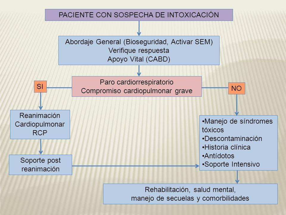 PACIENTE CON SOSPECHA DE INTOXICACIÓN Abordaje General (Bioseguridad, Activar SEM) Verifique respuesta Apoyo Vital (CABD) Paro cardiorrespiratorio Com