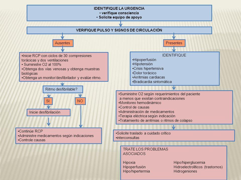 VERIFIQUE PULSO Y SIGNOS DE CIRCULACIÓN Presentes Ausentes Inicie RCP con ciclos de 30 compresiones torácicas y dos ventilaciones Suministre O2 al 100