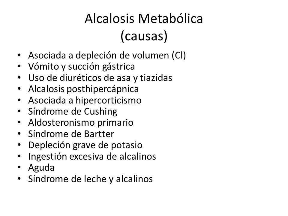 Alcalosis Metabólica (causas) Asociada a depleción de volumen (Cl) Vómito y succión gástrica Uso de diuréticos de asa y tiazidas Alcalosis posthipercá