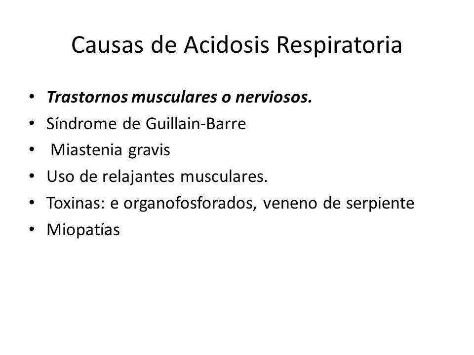 Causas de Acidosis Respiratoria Trastornos musculares o nerviosos. Síndrome de Guillain-Barre Miastenia gravis Uso de relajantes musculares. Toxinas: