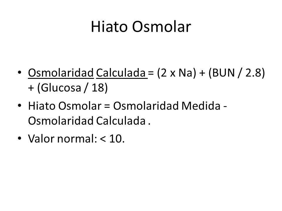 Hiato Osmolar Osmolaridad Calculada = (2 x Na) + (BUN / 2.8) + (Glucosa / 18) Hiato Osmolar = Osmolaridad Medida - Osmolaridad Calculada. Valor normal