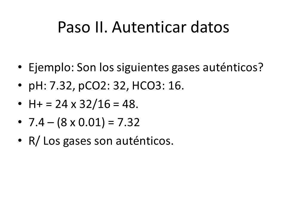 Paso II. Autenticar datos Ejemplo: Son los siguientes gases auténticos? pH: 7.32, pCO2: 32, HCO3: 16. H+ = 24 x 32/16 = 48. 7.4 – (8 x 0.01) = 7.32 R/