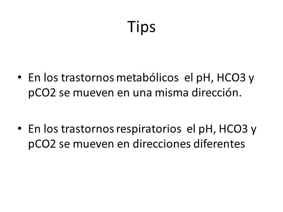 Tips En los trastornos metabólicos el pH, HCO3 y pCO2 se mueven en una misma dirección. En los trastornos respiratorios el pH, HCO3 y pCO2 se mueven e