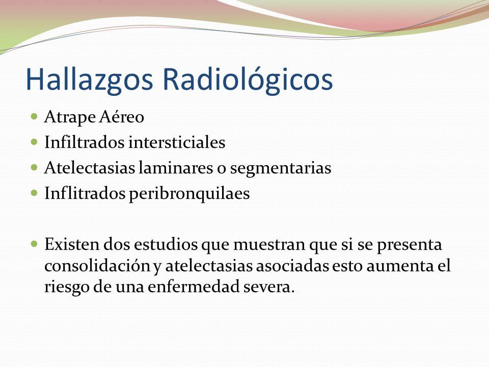 Hallazgos Radiológicos Atrape Aéreo Infiltrados intersticiales Atelectasias laminares o segmentarias Inflitrados peribronquilaes Existen dos estudios