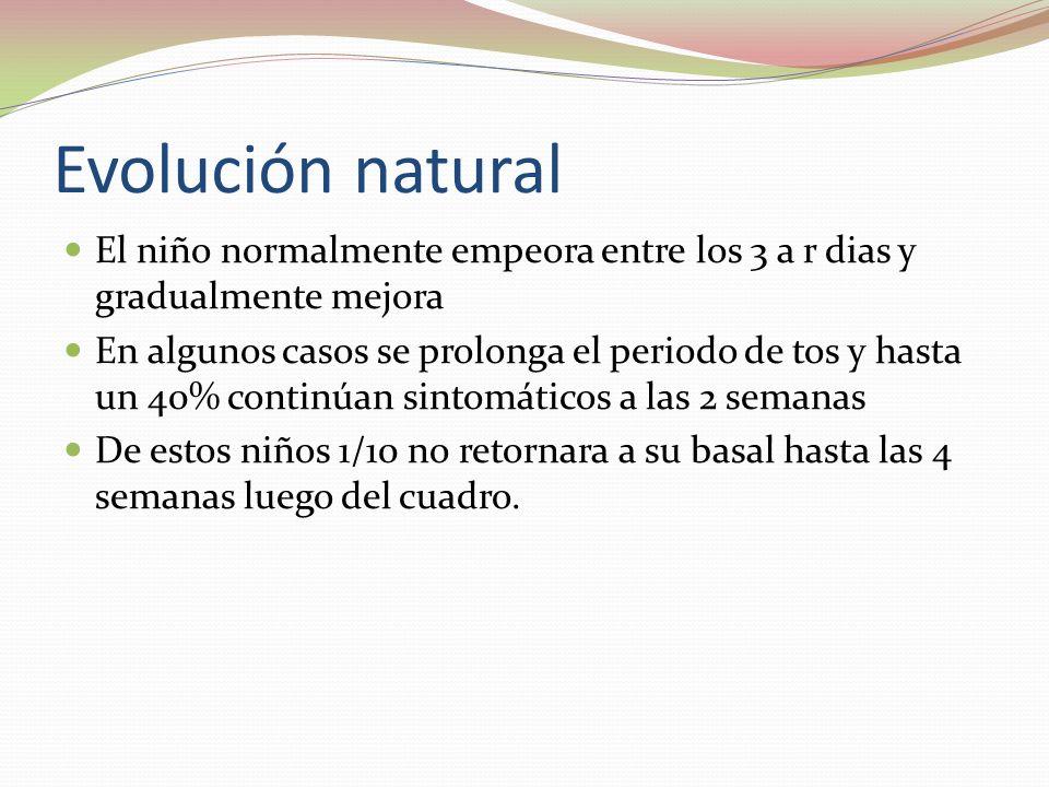 Evolución natural El niño normalmente empeora entre los 3 a r dias y gradualmente mejora En algunos casos se prolonga el periodo de tos y hasta un 40%