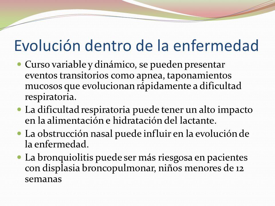 Evolución dentro de la enfermedad Curso variable y dinámico, se pueden presentar eventos transitorios como apnea, taponamientos mucosos que evoluciona