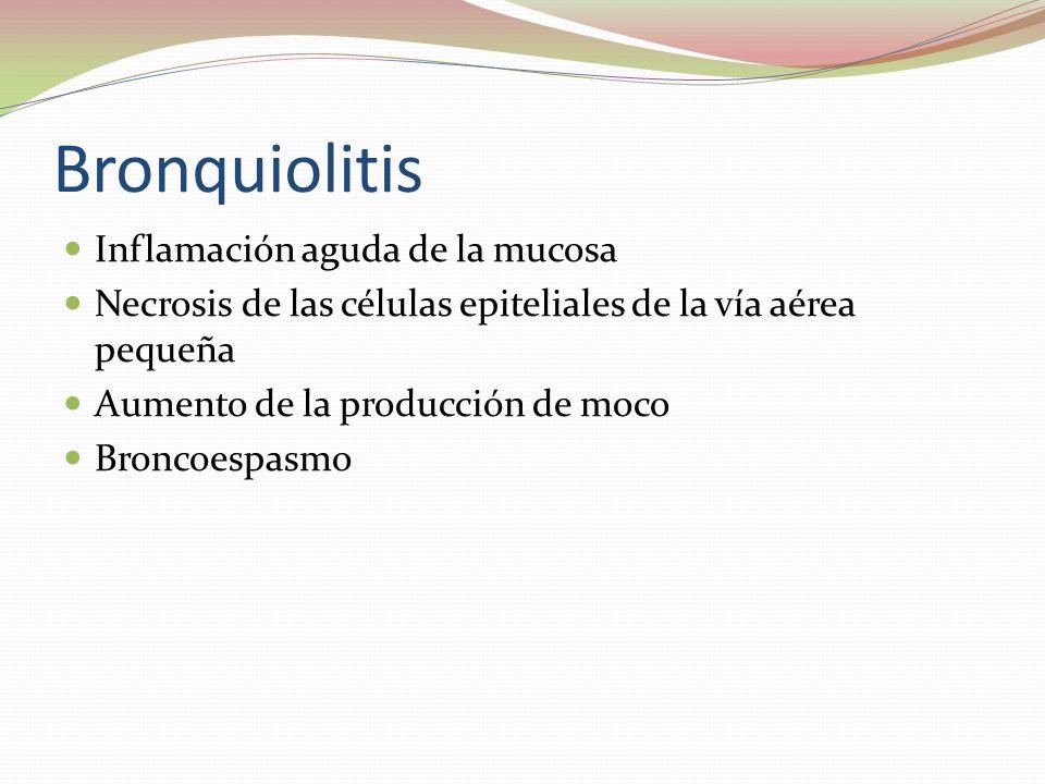 Bronquiolitis Inflamación aguda de la mucosa Necrosis de las células epiteliales de la vía aérea pequeña Aumento de la producción de moco Broncoespasm