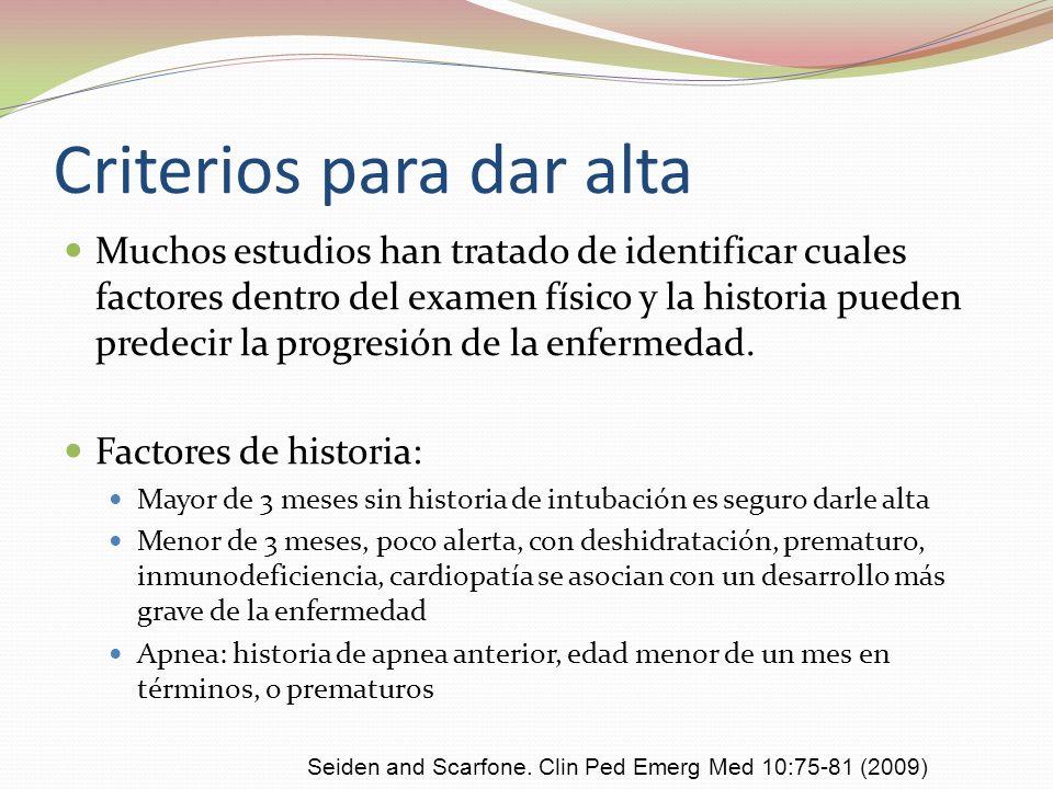 Criterios para dar alta Muchos estudios han tratado de identificar cuales factores dentro del examen físico y la historia pueden predecir la progresió