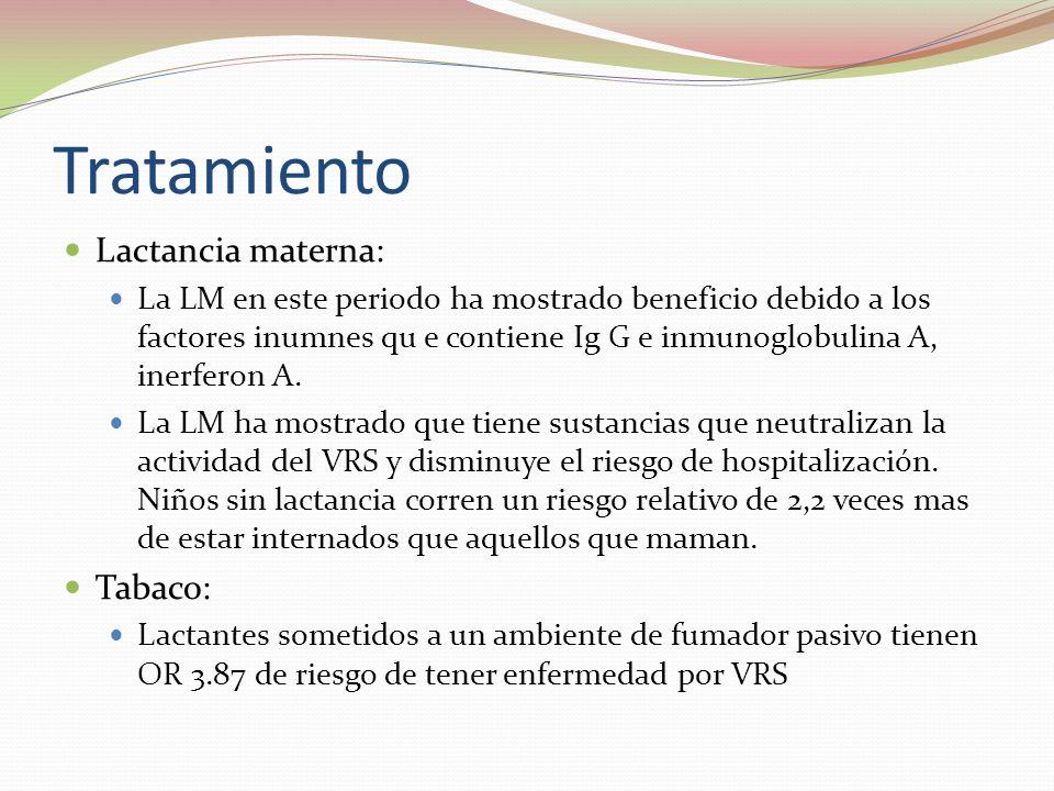 Tratamiento Lactancia materna: La LM en este periodo ha mostrado beneficio debido a los factores inumnes qu e contiene Ig G e inmunoglobulina A, inerf