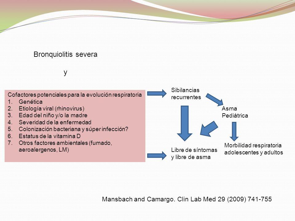 Cofactores potenciales para la evolución respiratoria 1.Genética 2.Etiología viral (rhinovirus) 3.Edad del niño y/o la madre 4.Severidad de la enferme