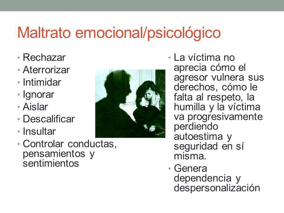 Maltrato emocional/psicológico Rechazar Aterrorizar Intimidar Ignorar Aislar Descalificar Insultar Controlar conductas, pensamientos y sentimientos La