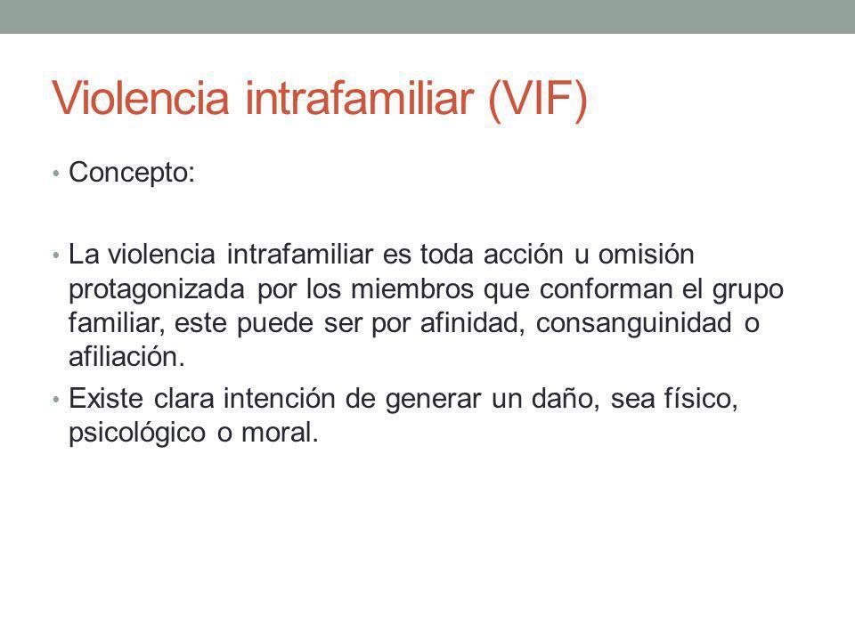 Violencia intrafamiliar (VIF) Concepto: La violencia intrafamiliar es toda acción u omisión protagonizada por los miembros que conforman el grupo fami