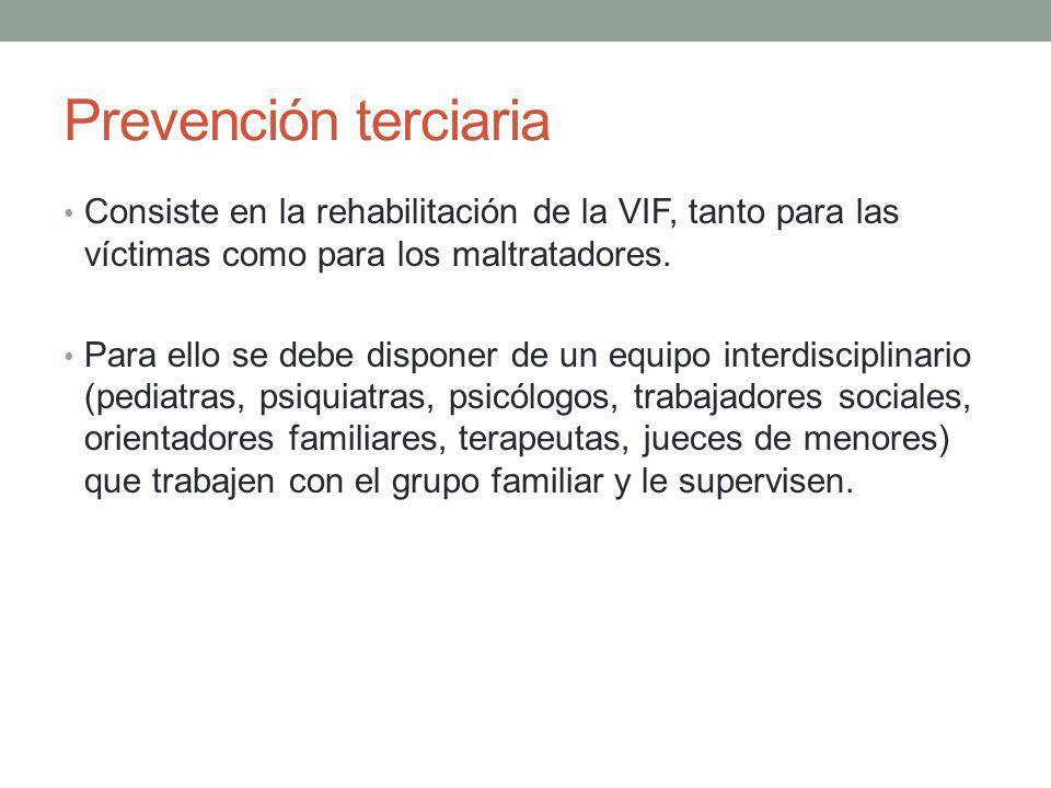 Prevención terciaria Consiste en la rehabilitación de la VIF, tanto para las víctimas como para los maltratadores. Para ello se debe disponer de un eq